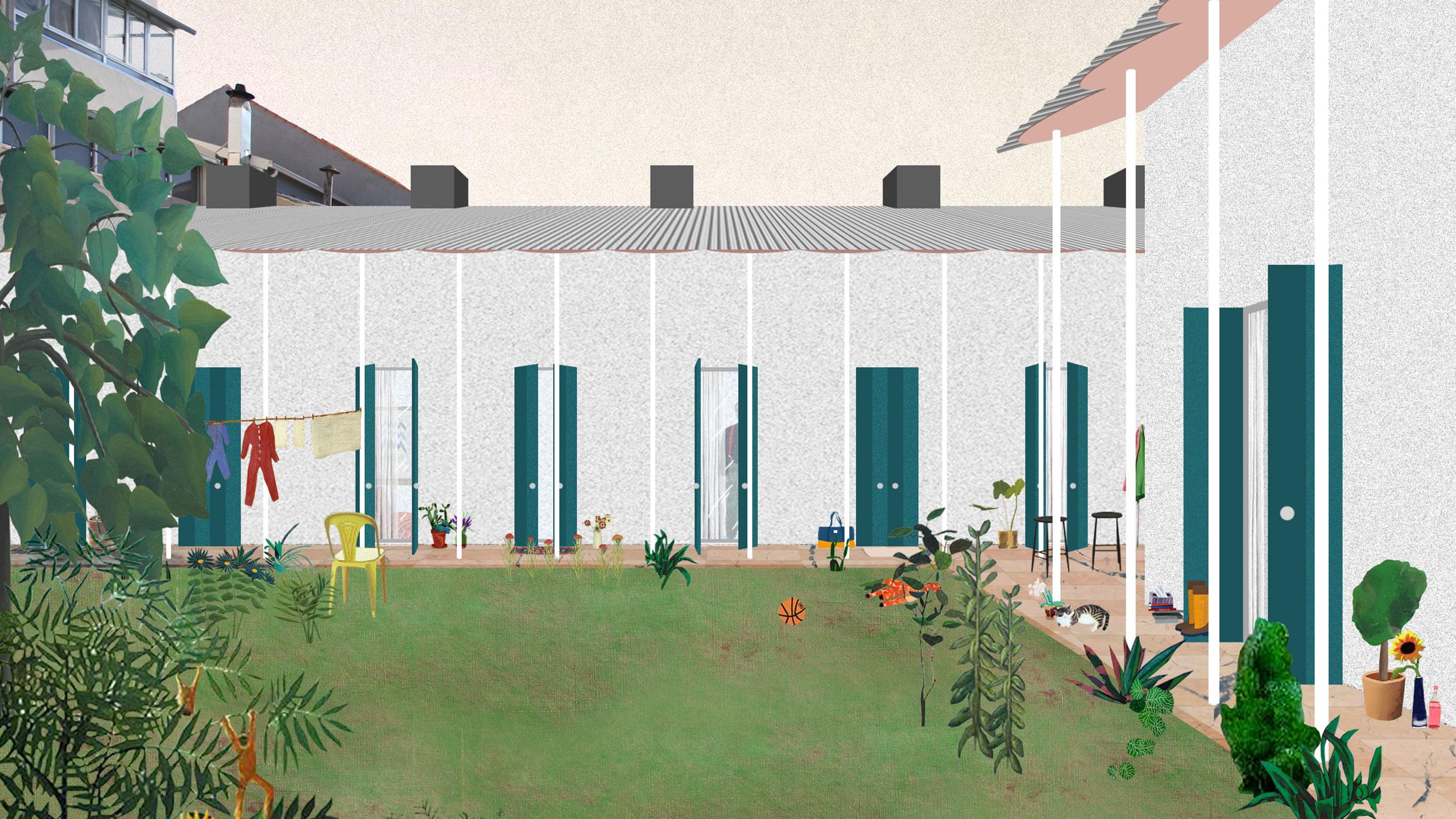 Illustration av bostadshus i Porto