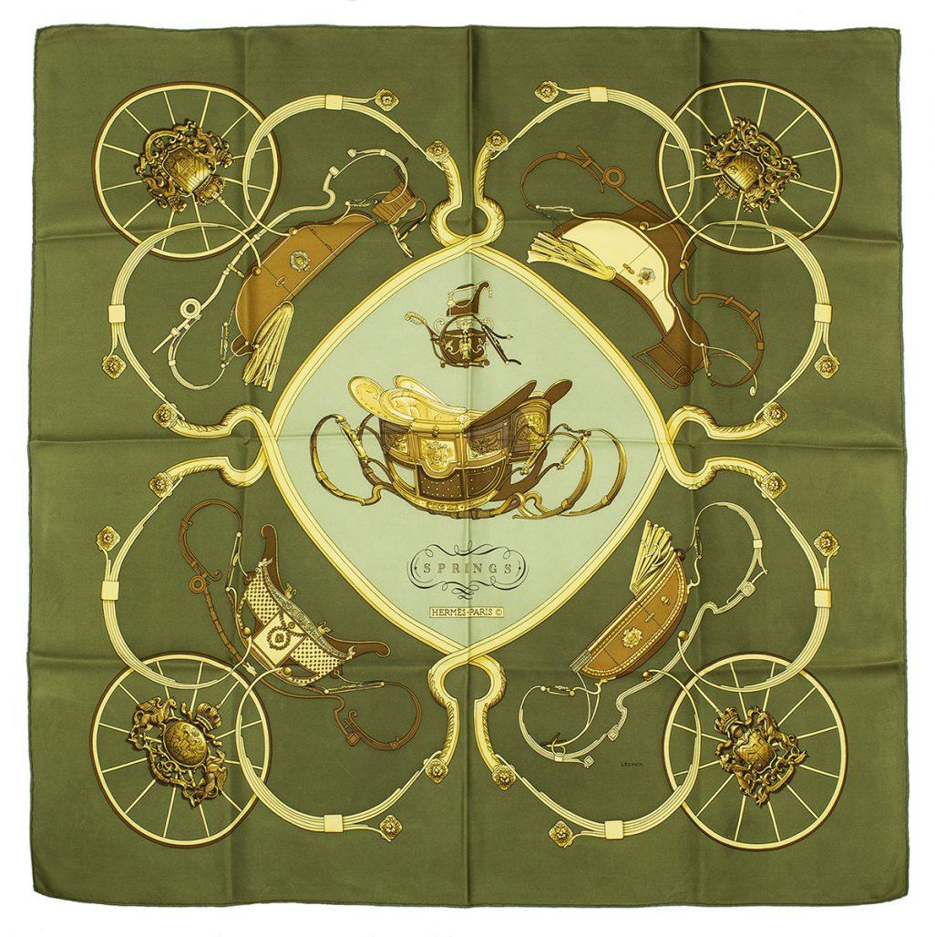 Hermèsscarf med mönster av hästvagnar