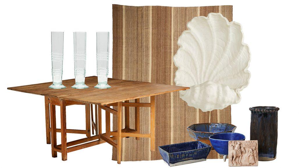 Auktionsfynd – slagbord, champagneglas och snäckformad vägglampa