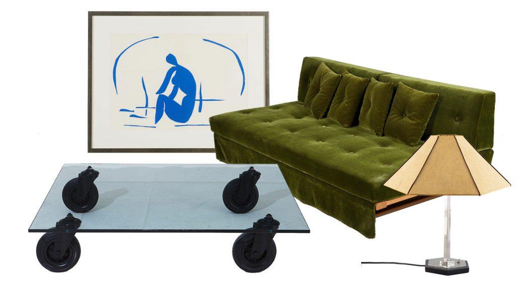 Auktionsfynd – soffbord, färglitografi av Matisse och dagbädd