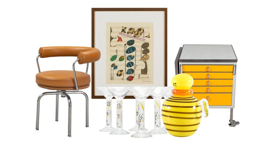 Auktionsfynd – stol av Le Corbusier, martiniglas och skulptur