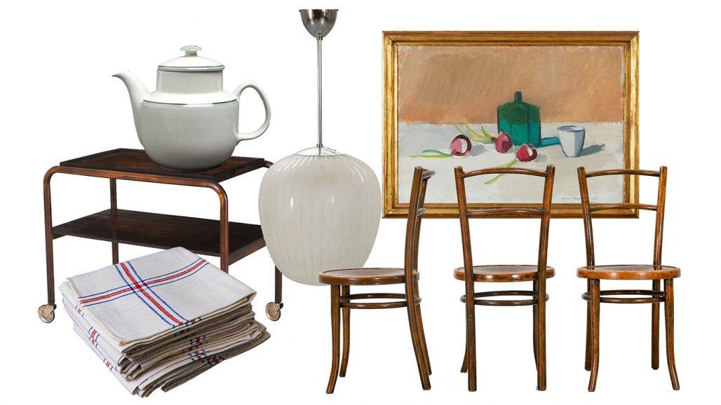 Auktionsfynd för köket – tekanna, serveringsvagn, kökshanddukar
