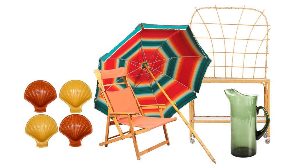 Auktionsfynd för balkong eller uteplats – solstol, blombord, skålar