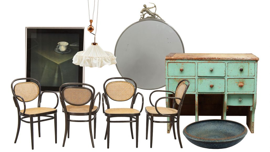 Thonet-stolar, lampa av Josef Frank och art déco-spegel att fynda på auktion
