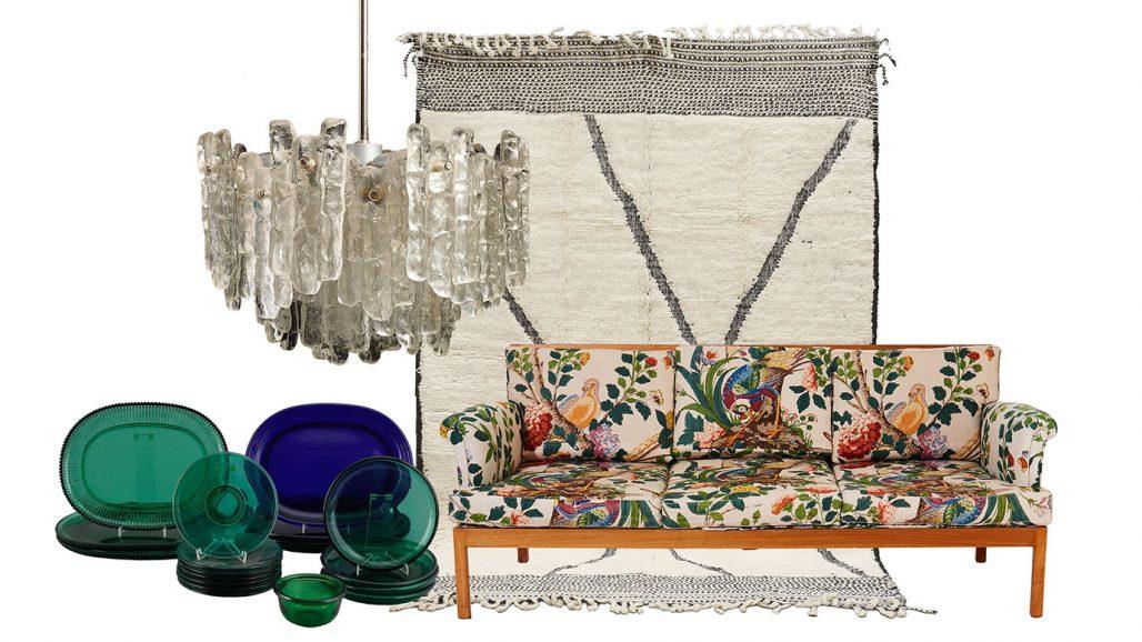 Auktionsfynd – glasservis av Josef Frank, marockansk matta och soffa av Josef Frank