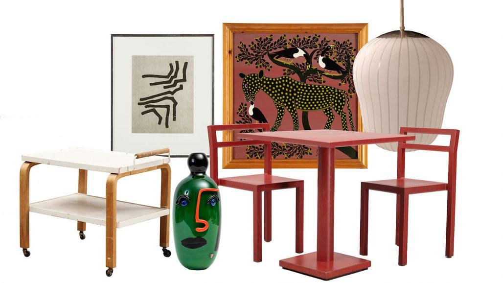 Auktionsfynd serveringsvagn, bord med stolar och taklampa