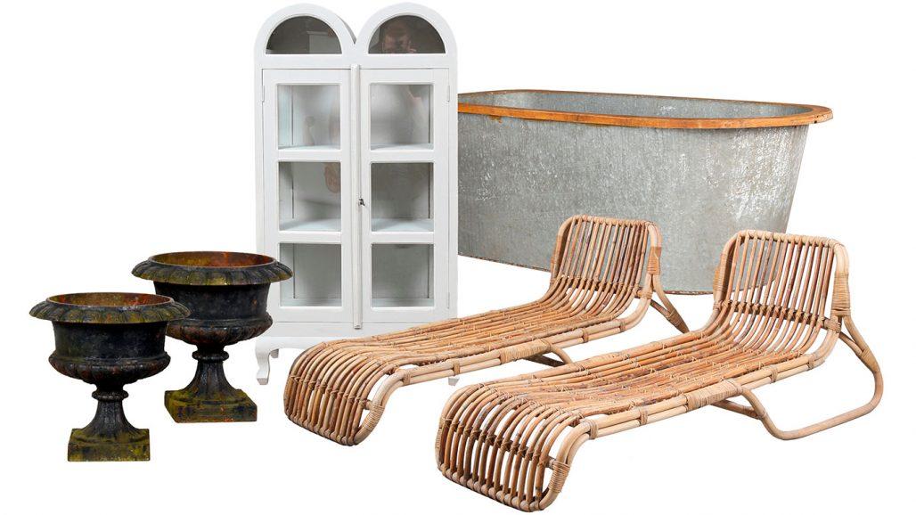 Auktionsfynd för trädgården – trädgårdsurnor, trädgårdsskåp och vilstolar