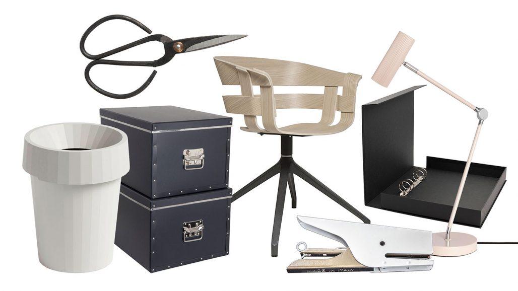 Papperskorg, häftapparat, sax och bordslampa för hemmakontoret