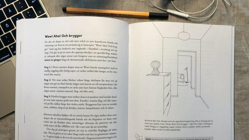 Uppslag ur Frida Ramstedts bok Övningsbok i inredning och styling