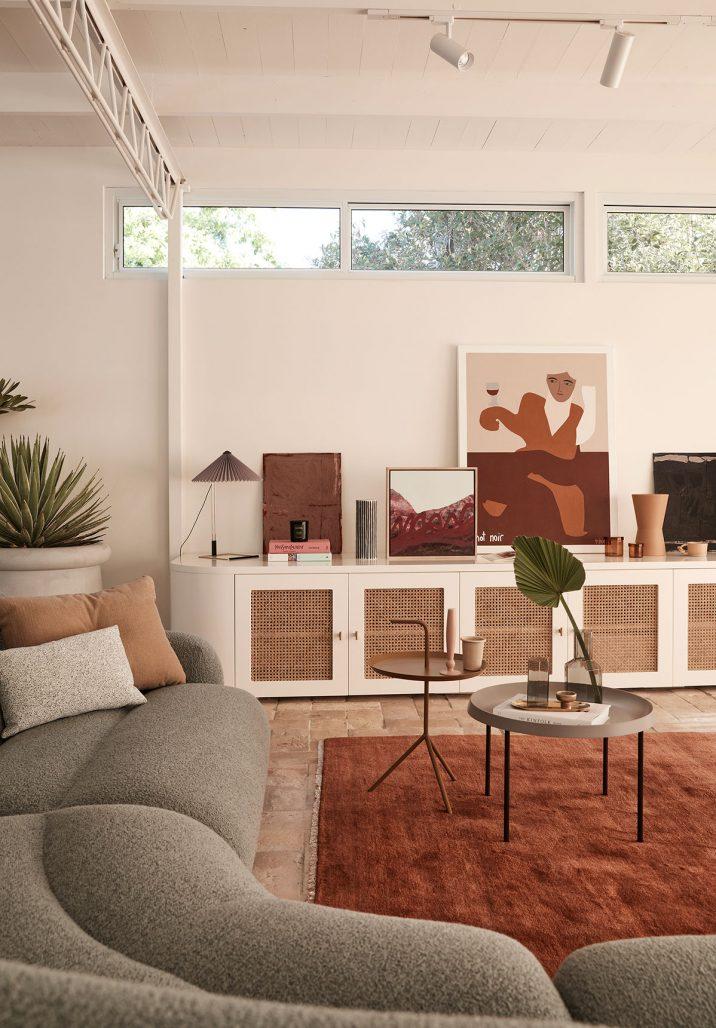 Vardagsrum i den modernistiska villan Wahroonga House