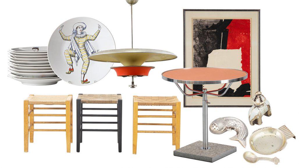 Auktionsfynd – tallrikar från Fornasetti, taklampa och saltkar
