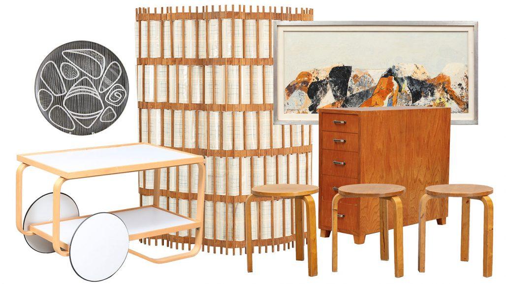 Auktionsfynd serveringsvagn av Alvar Aalto, skärmvägg och pallar