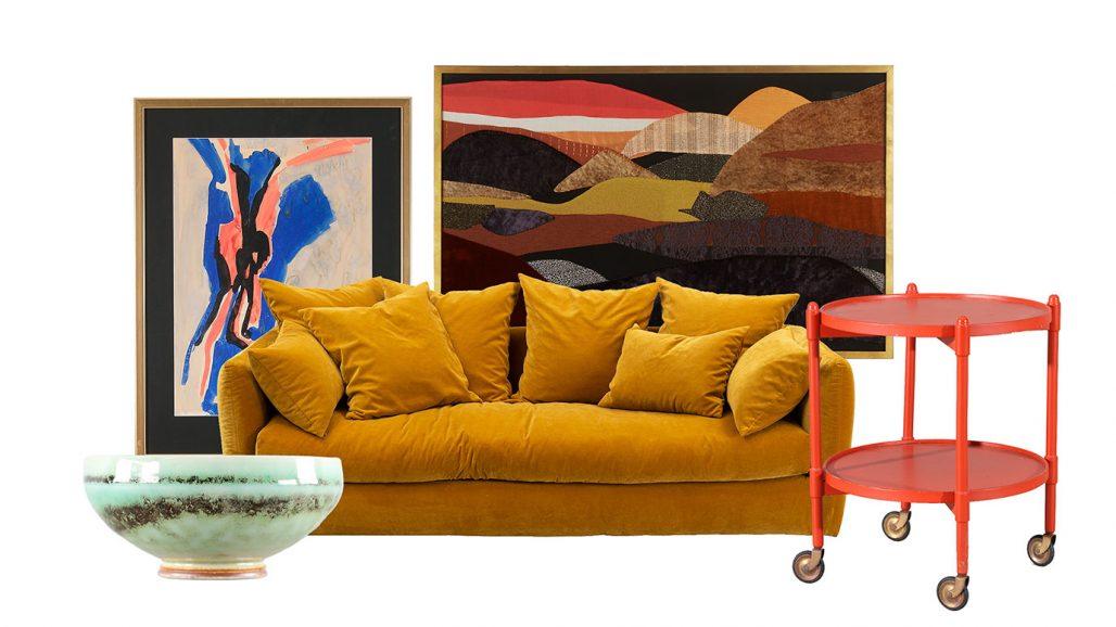 Auktionsfynd soffa, textilkonst och serveringsvagn