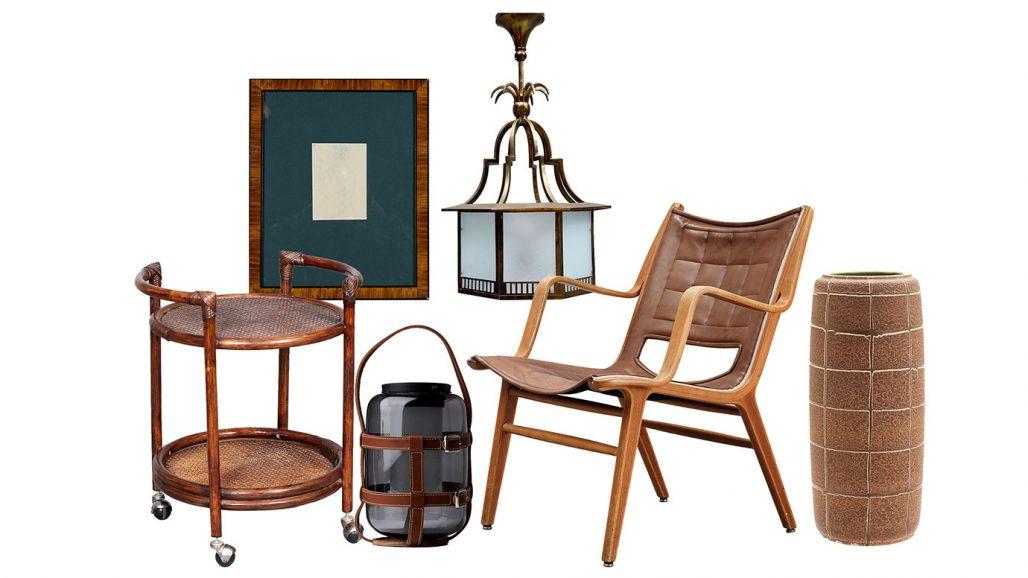 Auktionsfynd serveringsvagn, taklampa och karmstol