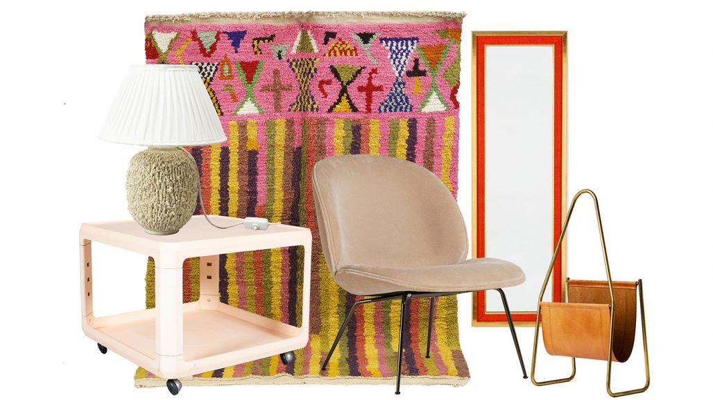 Auktionsfynd matta, soffbord från kartell, fåtölj från Gubi, spegel