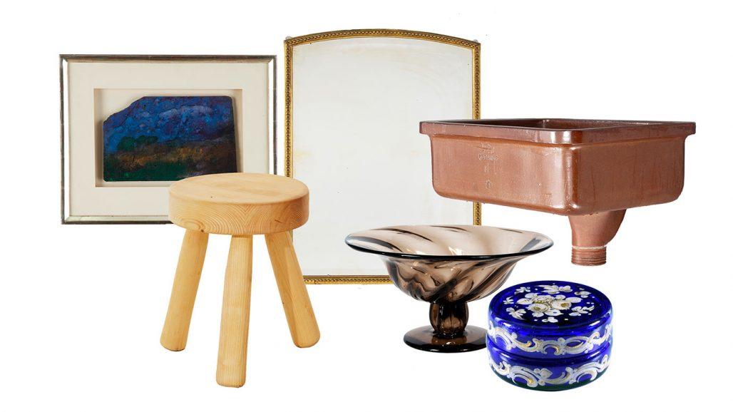 Auktionsfynd för badrummet – pall, spegel, handfat