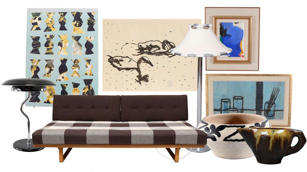 Auktionsfynd konst till tavelvägg och dagbädd av Børge Mogensen