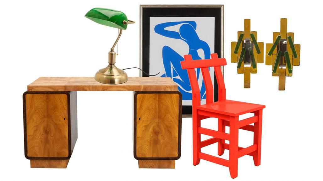 Auktionsfynd till hemmakontoret – skrivbord, tavla av Matisse och stol av John Kandell