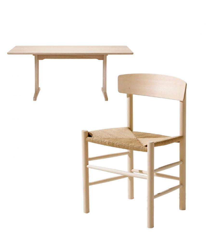 Børge Mogensens bord Shaker och stolen J39