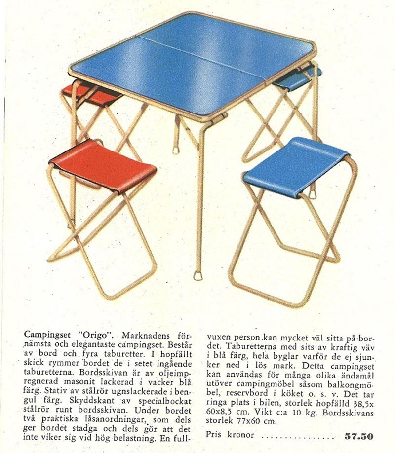 Annons för Origos campingset från tidigt 1960-tal