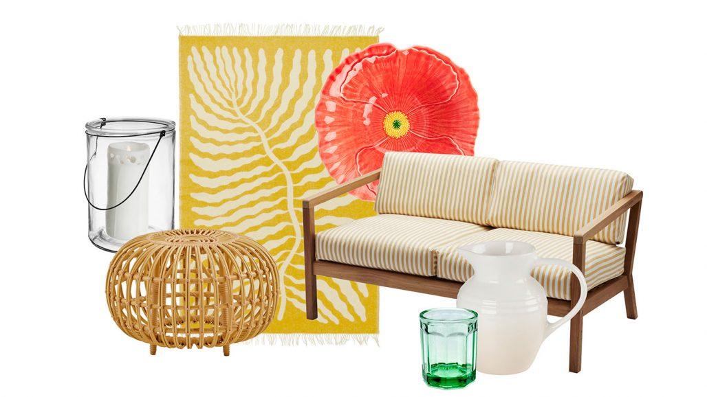 Hänglykta, ottoman och soffa för trädgården