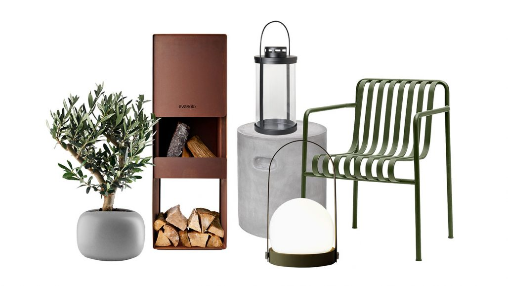 Kruka, vedspis och stol för trädgården