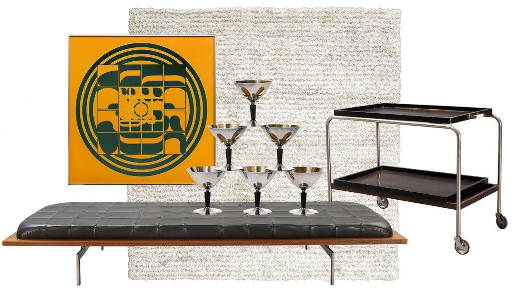 Auktionsfynd – dagbädd, matta från Kasthall och cocktailglas från 1930-tal