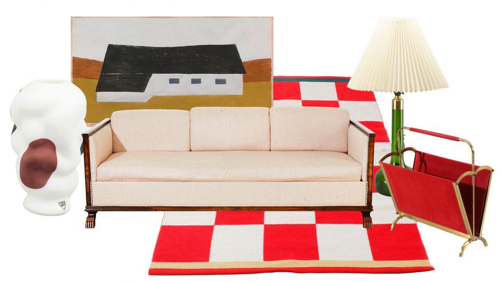 Auktionsfynd bestående av matta från Kasthall, soffa av Axel Einar Hjorth och bordslampa