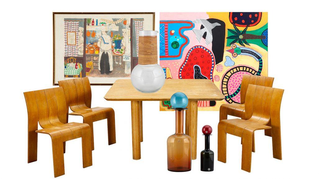 Auktionsfynd – matgrupp från Nederländerna, konst av Lennart Jirlow och karaff av Kaj Franck