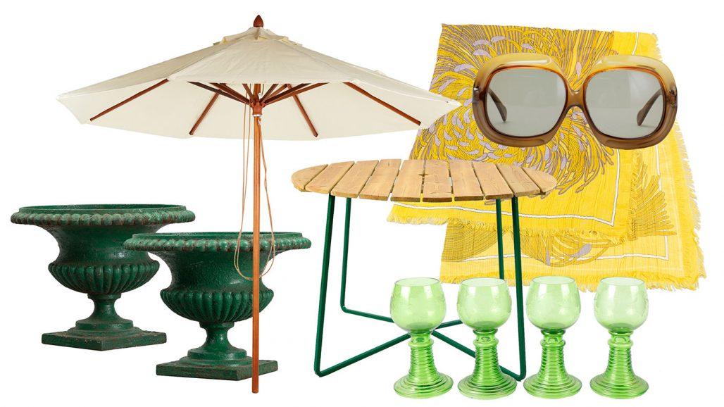 Auktionsfynd för trädgården – parasoll, trädgårdsurnor och trädgårdsbord