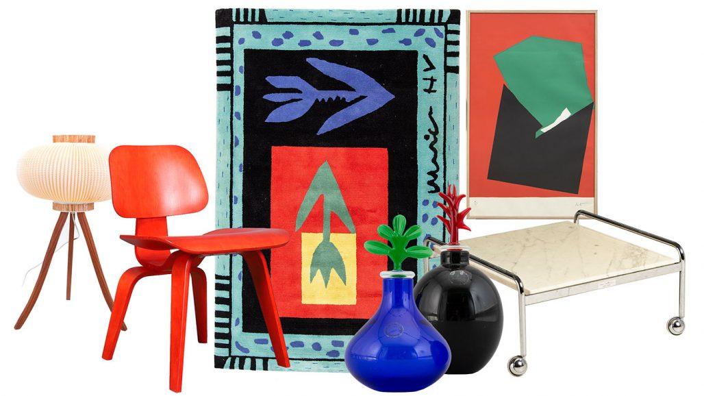Auktionsfynd – stol av Eames, matta av Ulrica Hydman-Vallien och vaser från Murano