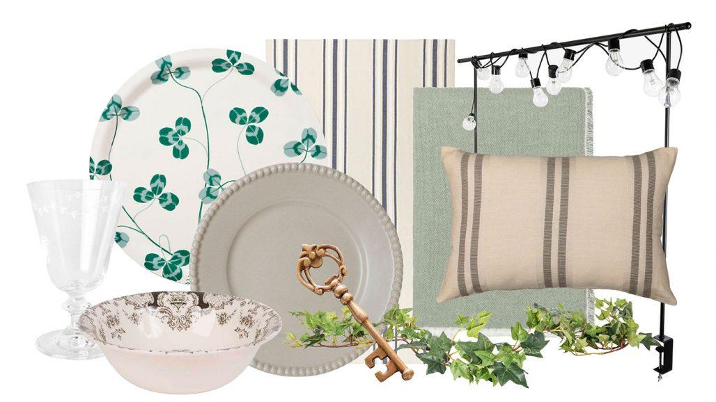 Dukning och pynt för midsommar med bricka, vinglas, duk och girlang