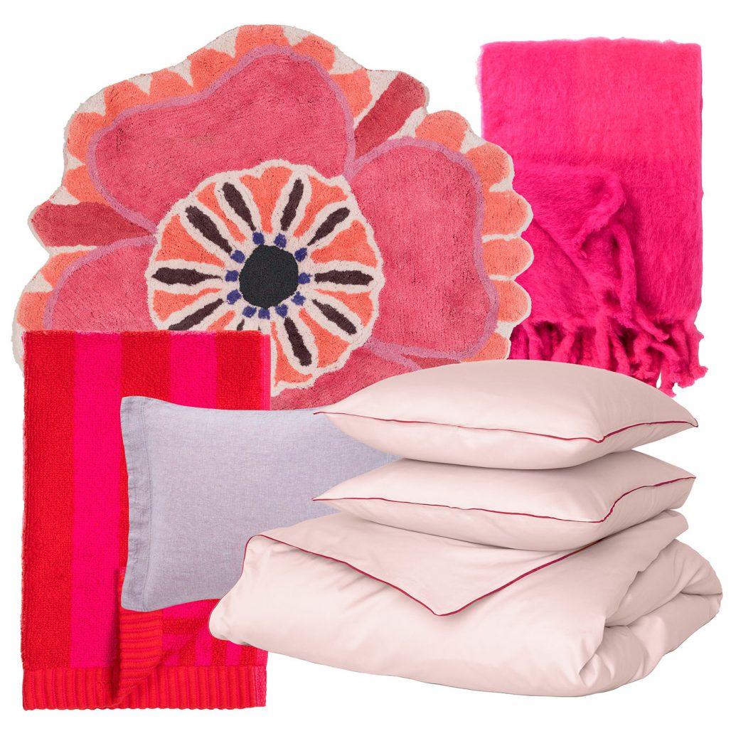 Sommartextilier – badrumsmatta, handduk och påslakanset