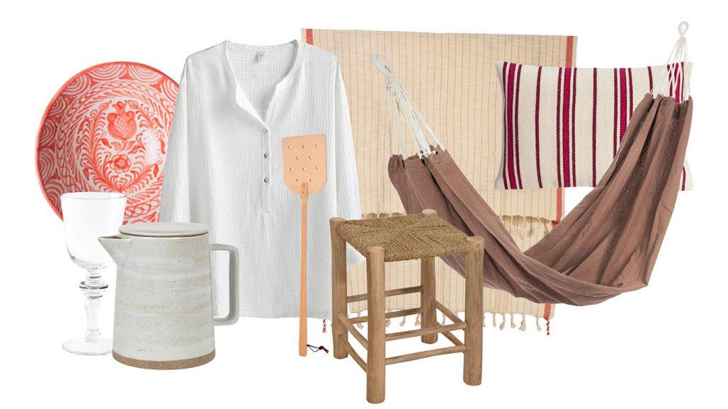 Skjorta, tekanna, flugsmälla och hängmatta för staycation i sommarstugan