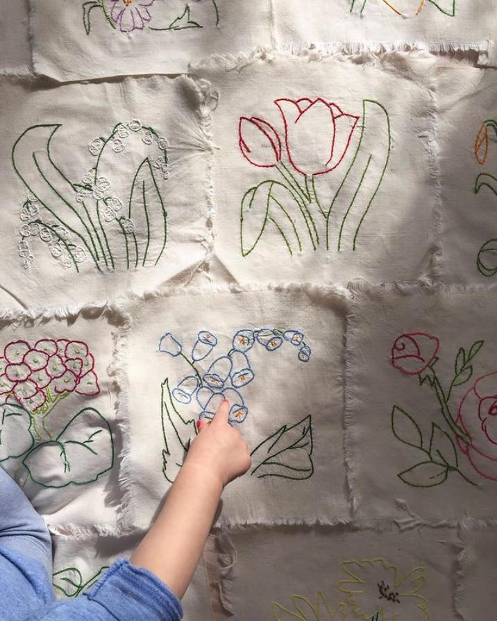 Textilier med blommor på.
