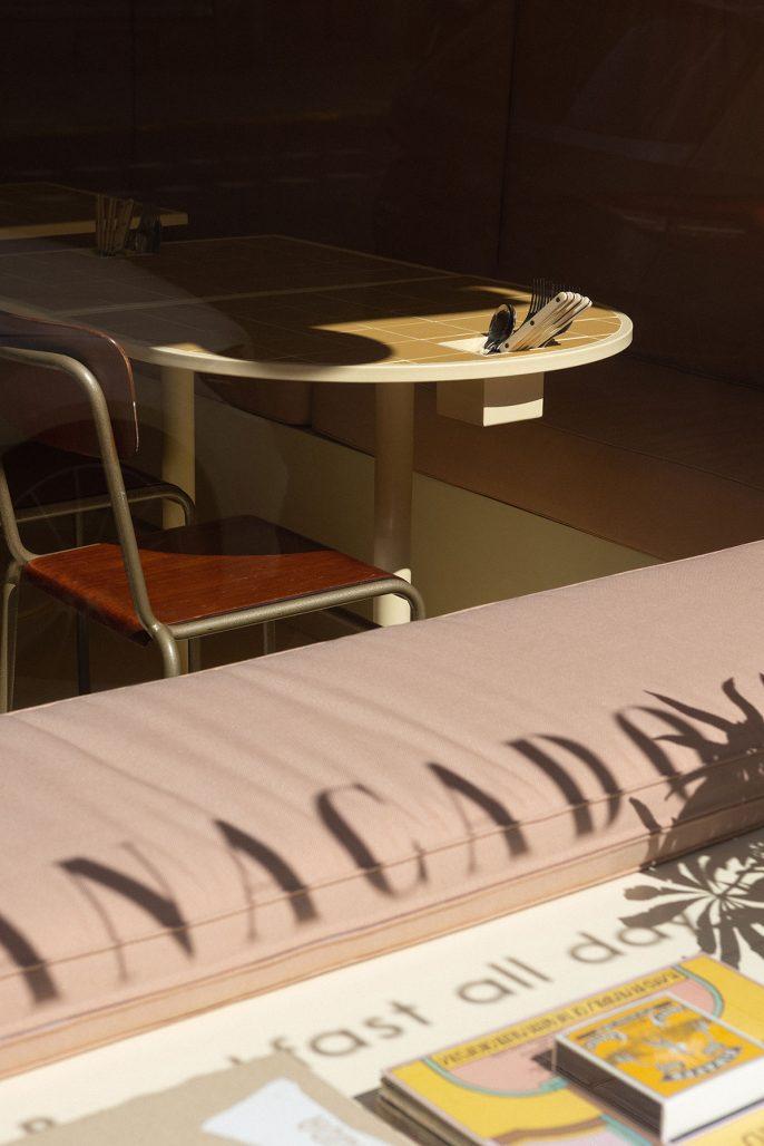 Interiördetalj från kaféet Banacado inrett av Aska Architects