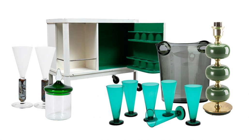 Auktionsfynd för hemmabaren – barskåp, champagneglas och champagnekylare