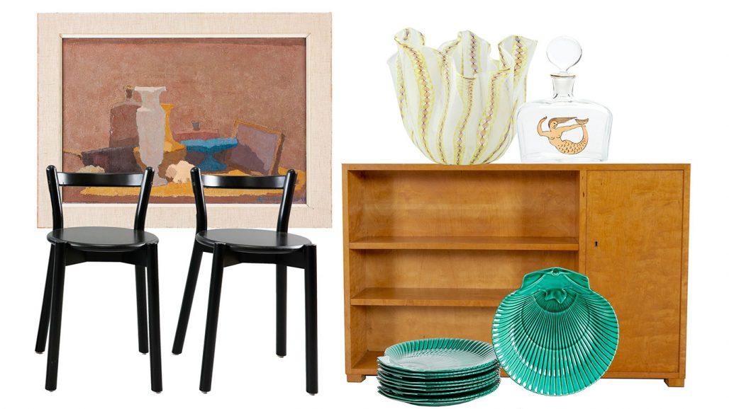 Auktionsfynd – snäckformade tallrikar, oljemålning och stolarna PS 2012 från Ikea