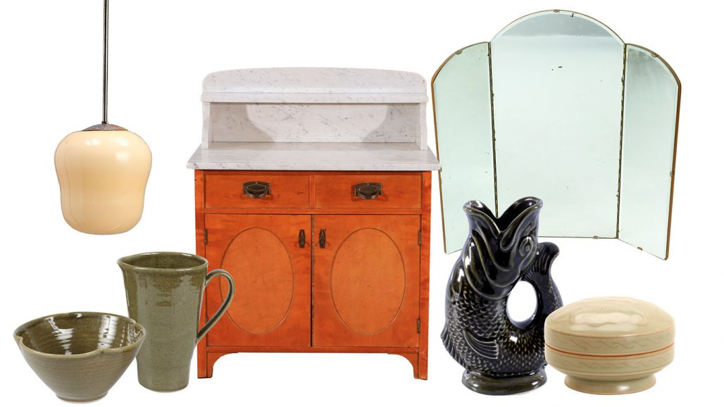 Auktionsfynd för badrummet – lavoar, spegel och keramik