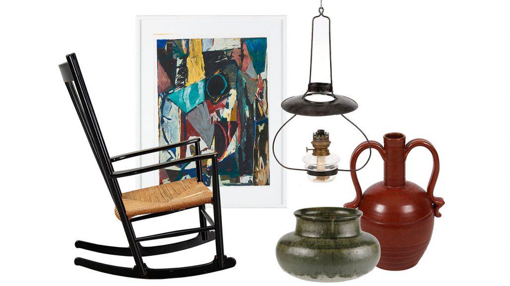 Auktionsfynd – gungstol, takfotogenlampa och rustik keramik