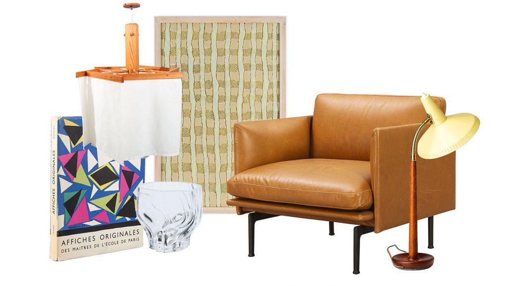 Auktionsfynda taklampa, vas från Orrefors och fåtölj