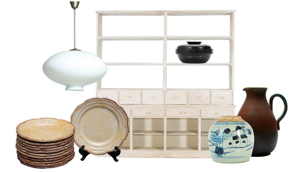 Auktionsfynd – assietter, hylla, karott och ingefärskrus