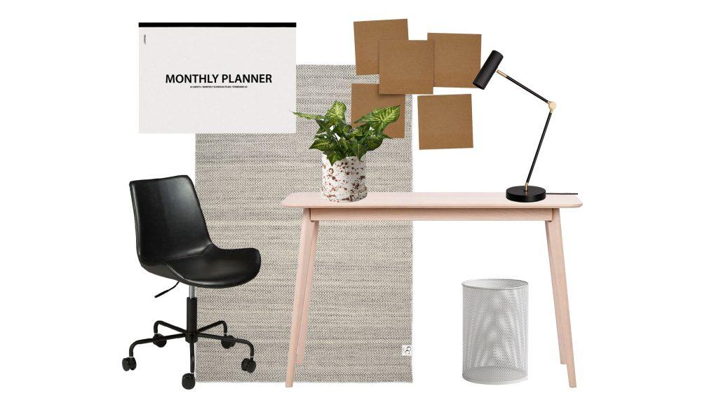 Kontorsstol och skrivbord för ditt hemmakontor.