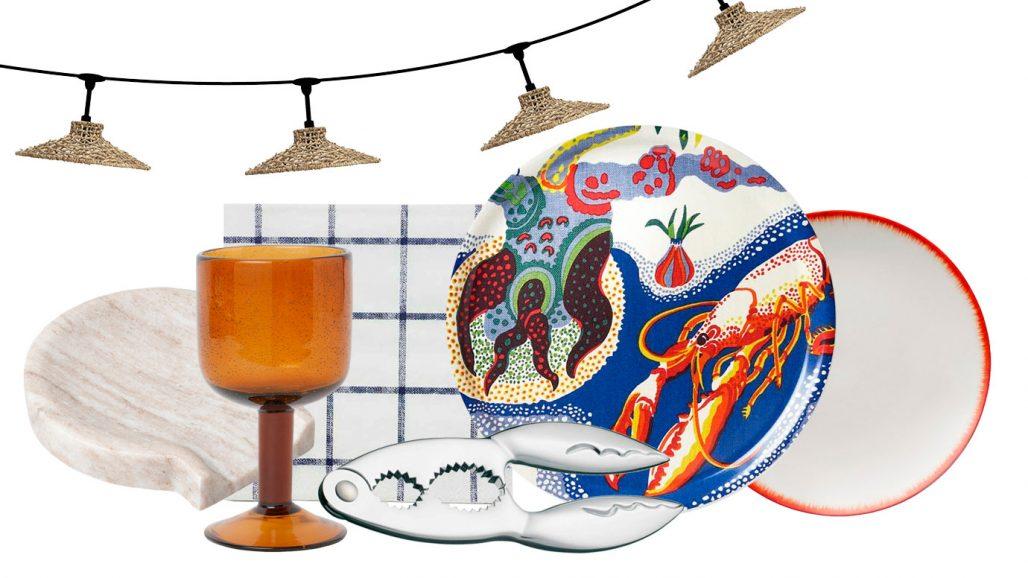 Ljusslinga, vinglas och skaldjursknäckare till kräftskivan