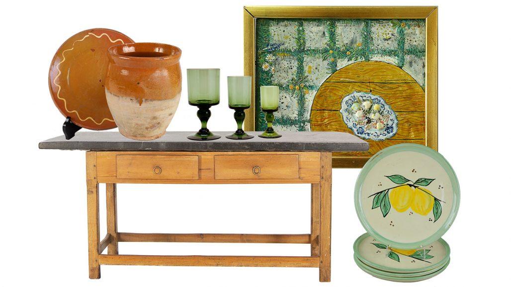 Auktionsfynd – stenbord, glasservis och tallrikar