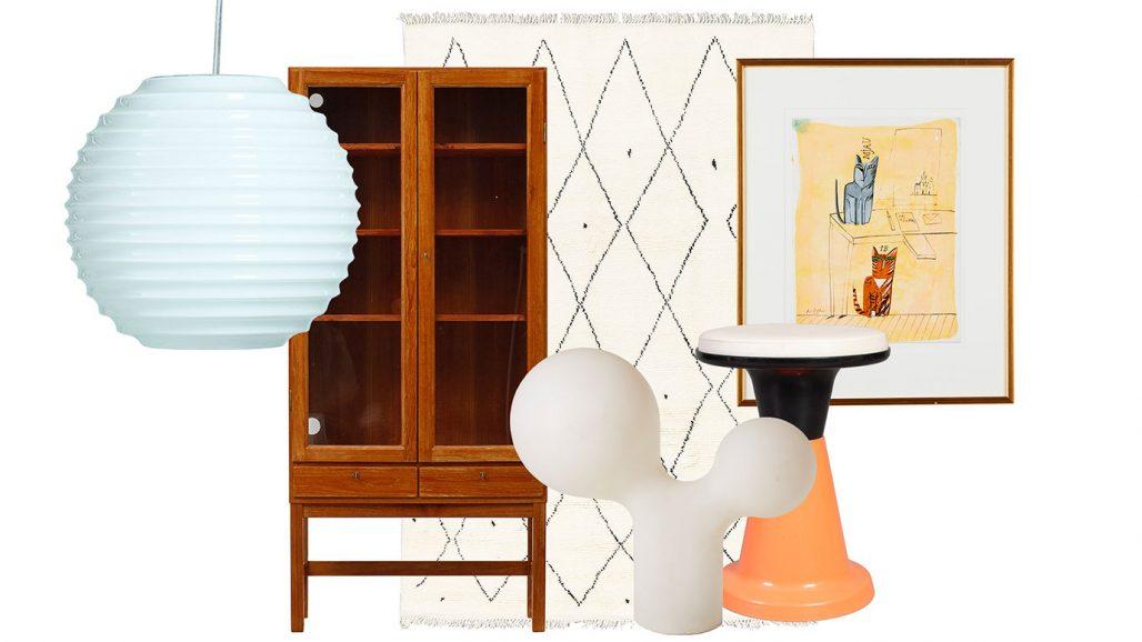 Auktionsfynd – taklampa, vitrinskåp och bordslampa av Eero Aarnio