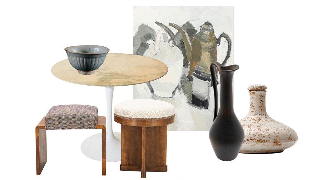 Auktionsfynd – bordet Tulip av Eero Saarinen, oljemålning och hänkelvas
