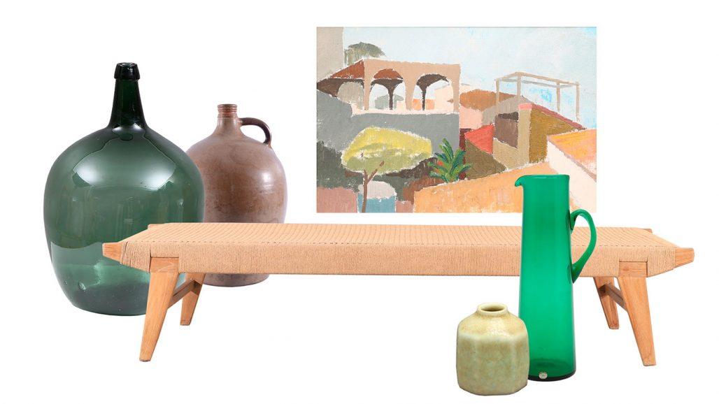 Auktionsfynd – glasvas, dagbädd och kanna