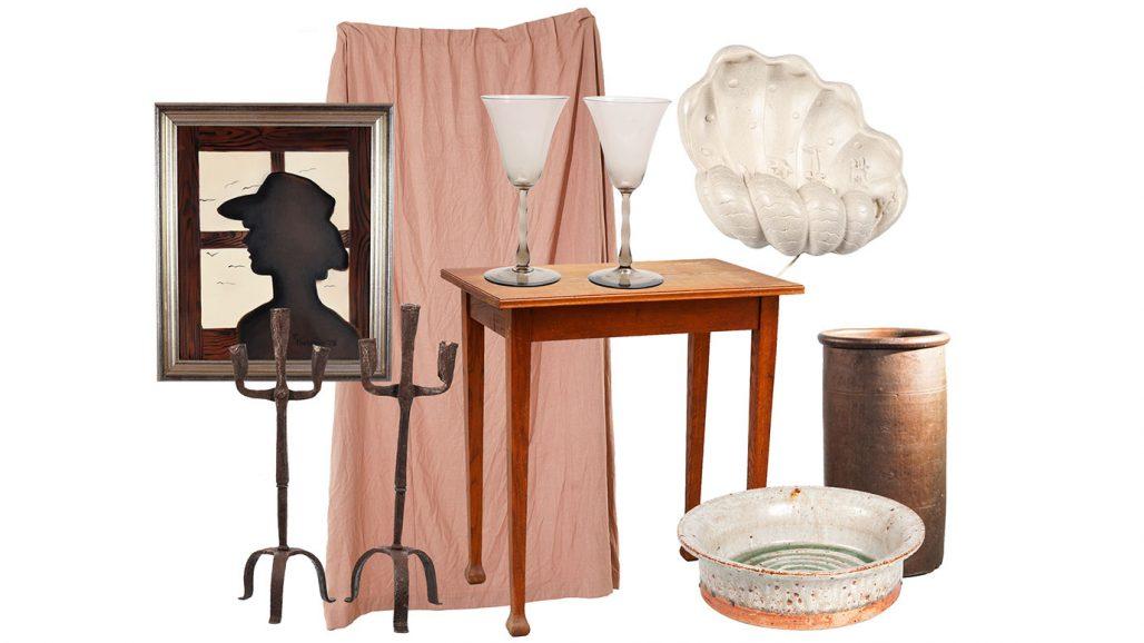 Auktionsfynd – gardiner, snäckformad vägglampa och vinglas av Simon Gate