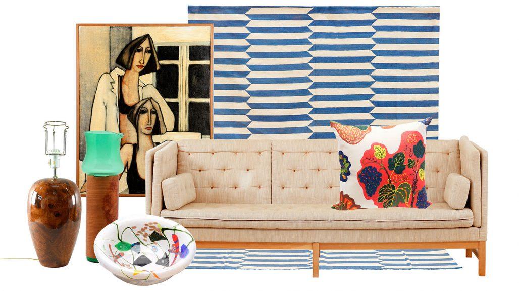 Auktionsfynd – Akrylmålning, soffa och kudde av Josef Frank